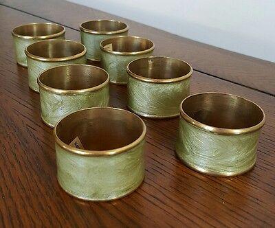 Set of 8 Vintage Napkin Rings Light Green Gold/Brass Color