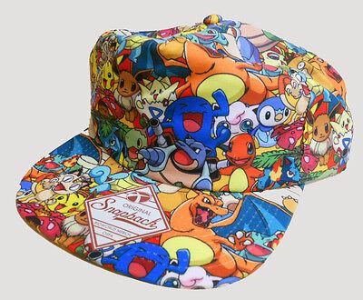 NWT POKEMON Charmander PIKACHU Squirtle BULBASAUR snapback HAT CAP catch em all