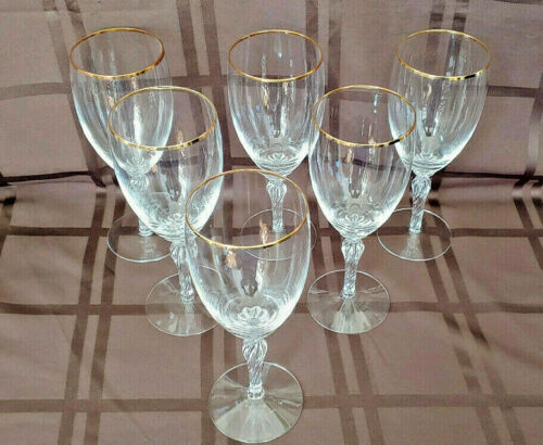 "Lenox Crystal Monroe Twisted Stem Gold Rim 8"" Iced Tea Goblets (Set of 6)"