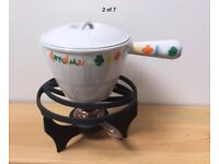 £30 Le Creuset Fondue vintage Cast iron and enamelset with stand and burner