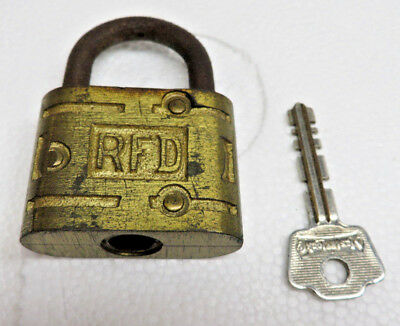 Vintage RFD BRASS PAD LOCK  KEY INCLUDED IS NOT THE CORRECT KEY BUT WORKS