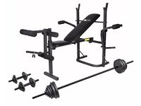 Weight Bench & Cast Iron Barbell Dumbbell Set - 50kg