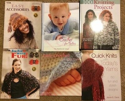 Lot of 6 Knit and Crochet for Babies, Baby Afghans, booties, blankets Books