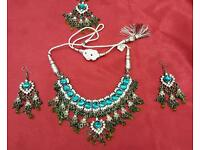 Blue, white and shampion coloured stone Asian party and fashion Jewellery set