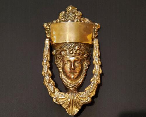 Vintage Antique Solid Brass Bacchus Dionysus Face Door Knocker Art Nouveau Deco