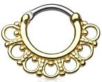 Tribal Fan Goud Septum Clicker