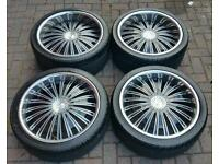"KWC 20"" ALLOY WHEELS DEEP DISH 5X108 FORD RS S MAX KUGA JAGUAR S TYPE XF XK 407 VOLVO XC90 EVOQUE"