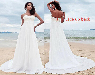 Simple Maternity Beach Wedding Dress for Pregnant Women Cheap High Waist