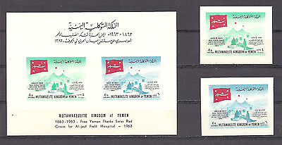 YEMEN , KINGDOM OF, RED CROSS ,100 YEARS , SS & SET OF 2 STAMPS IMPERF , MNH