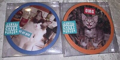 2 Packs Of 12 Cat Coasters Funny Can Has Cheez Burger Meme Paper Nip