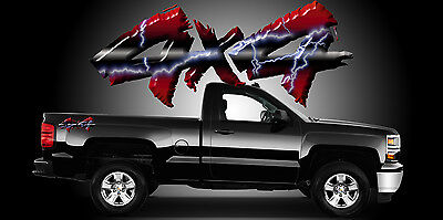 2 4x4 Truck Bedside Decals Stickers-A17R4X4