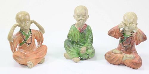 3Feng Shui Hear See Speak No Evil Bonze Happy Face Buddha Monks Figurines Statue