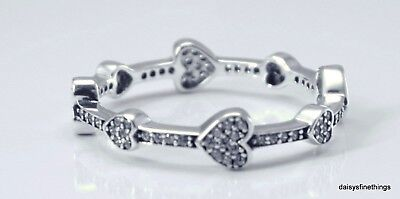 AUTHENTIC PANDORA SILVER RING ALLURING HEARTS #197729CZ MULTIPLE SIZES CLEARANCE ()