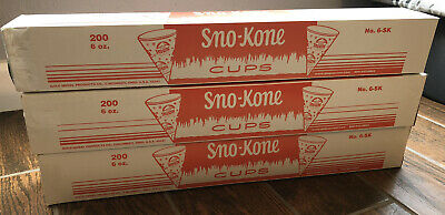 Lot Of 3 Case Of 200 Total 600 Cups Gold Medal Sno Kone Sno-cone Cups 6 Oz.