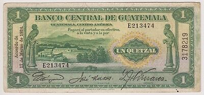 Guatemala Banco Central 1 Quetzal 1934 P14a First Date VF Bird Rare Signature