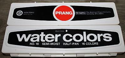Prang Aquarell Set (NOS 1970's Vintage Prang Watercolor Plastic Box 16 Color Paint Set with Brush)