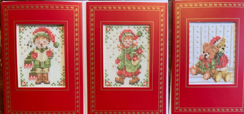 3 Beautiful Completed Lanarte Cross Stitch Christmas Cards Boy Girl Teddy Bears