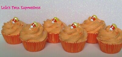 Faux MINI CUPCAKES Fake Food HALLOWEEN CANDY CORN orange (6)](Candy Corn Halloween Cupcakes)