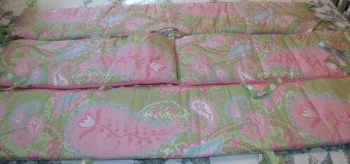 girls pink and green paisley 4 piece crib bumper pad