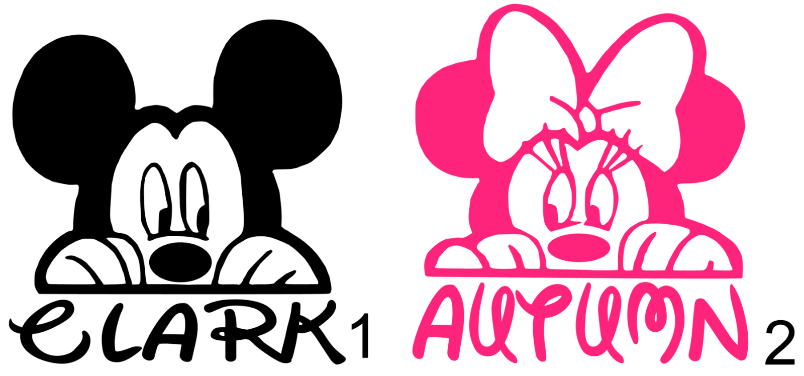 Home Decoration - Mickey mouse / Minnie Mouse Personalized name Vinyl Decal B Approx. 3inchx3inch