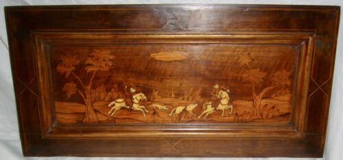 ANTIQUE INLAID HUNTING DOGS HORSES FOREST WOOD MARQUETRY WALL HANGING PLAQUE