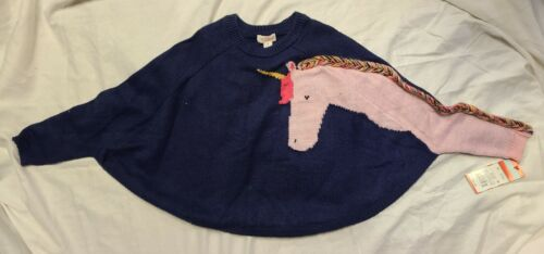 Cat & Jack Pullover Sweater Toddler Girls 5T Unicorn Navy Poncho Style