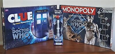 RARE DR. WHO MONOPOLY VILLAINS EDITION & CLUE & FIFTH DOCTOR SONIC SCREWDRIVER