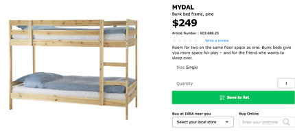 IKEA Bunk Beds - Only used for 6 Months