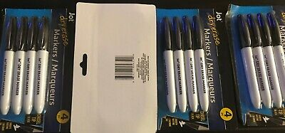 Lot Of 4-dry Erase Markers-jot Black Color -chisel Tip Smooth Writing 4pc-new