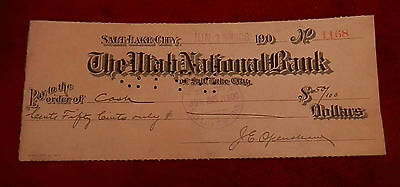 1908 Salt Lake City Utah National Bank  Check No  1168