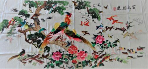 Handwoven Silk Chinese Embroidery - 100 Rainbow Birds (200 cm x 93 cm) #5