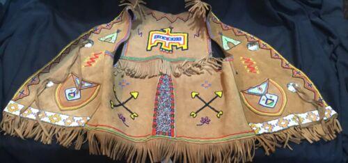 Native American Leather Beaded Vest Handmade by Mittie Osoeola Osceola 1940