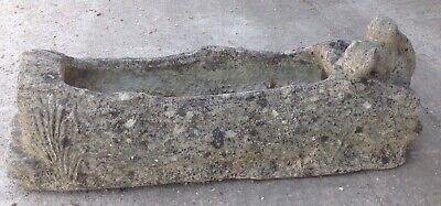 VINTAGE WEATHERED 80 cm x 28cm STONE GARDEN SQUIRREL PLANTER / TROUGH