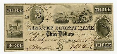1837  3 The Lenawee County Bank   Palmyra  Michigan Note W  Indian   Trains