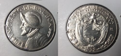 Rare 1932 Panama Silver 1/4-Balboa Nice