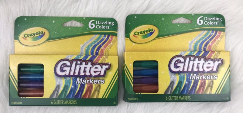 (2 Pack) Crayola Glitter Markers, 6 Count New