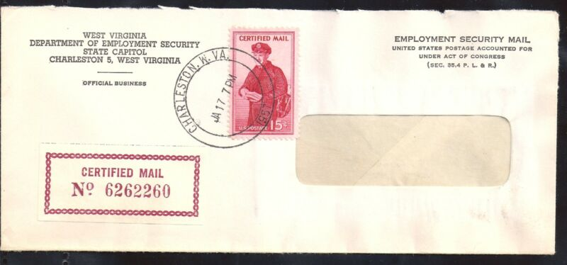 1957 Employment Security Official Mail w/ Scott FA1 Certified Mail Stamp - WV
