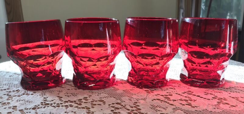 4 Vintage Ruby Red Glassware Honeycomb Drinking Glasses Tumblers