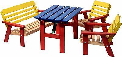 Bunte Sitzgarnitur für Kinder Kindersitzgruppe Garten Kindersitzgarnitur Holz gebraucht kaufen  Grumbach