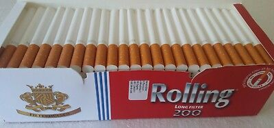200X Empty Tobacco Cigarette Filter Tubes Rolling King Size Long Filter 24Mm