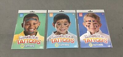 Lot of 3 Magic Fun Face Tattoos - Made in USA - Ages 4+ Tiger Fish Shark Hero - Tattoos Of Fish