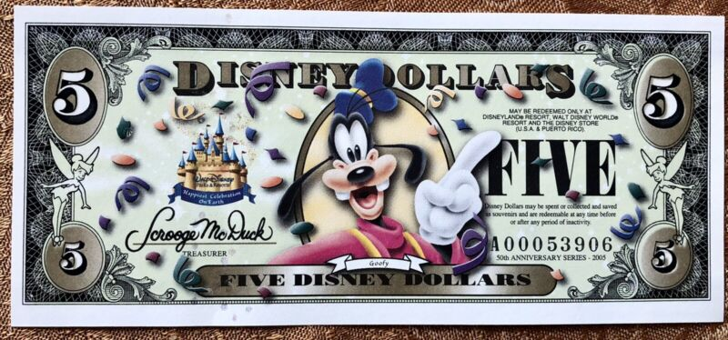 2005  $5 Goofy Disney Dollar 50th Anniversary Uncirculated!
