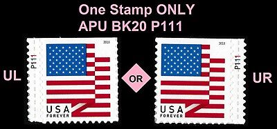 US Flag forever plate single P111 APU (from booklet 20) MNH 2018