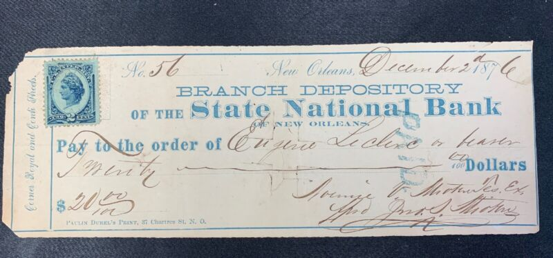 1876 Check, Branch Depository of The State National Bank of New Orleans LA