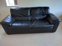 Large Black Leather Sofa - Good condition