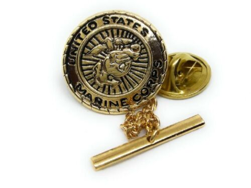 US, MARINE TIE TACK / LAPEL PIN 18KT GOLD PLATED