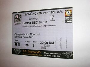 used ticket tsv munchen 1860 hertha berlin 13 05 2000 ebay. Black Bedroom Furniture Sets. Home Design Ideas