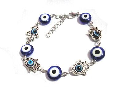 Evil Eye Blue Plastic Bead & Metal Hamsa Hand Chain Bracelet Fast Free Shipping Blue Evil Eye