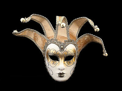 Mask from Venice Volto Jolly Beige and Golden 5 Spikes for Fancy Dress 769 V40