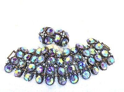 VTG Art Deco Blue Heliotrope AB Rhinestone Wide Bookchain Bracelet Earrings Set